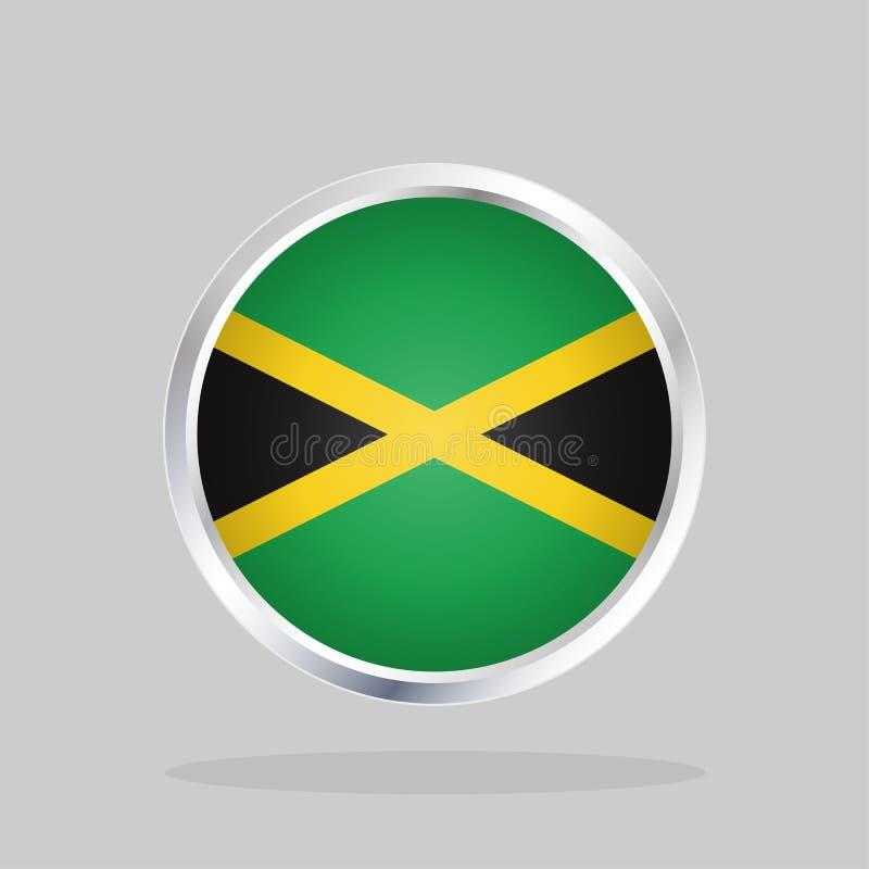 Drapeau de la Jamaïque, bouton rond brillant illustration stock