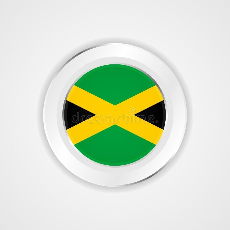 Drapeau de la Jamaïque dans l'icône brillante illustration libre de droits