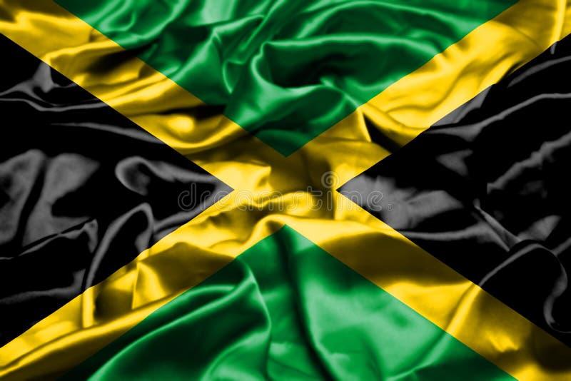 Drapeau de la Jamaïque ondulant dans le vent illustration de vecteur