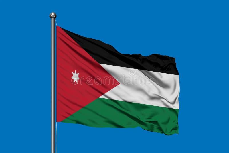 Drapeau de la Jordanie ondulant dans le vent contre le ciel bleu profond Drapeau jordanien photo stock