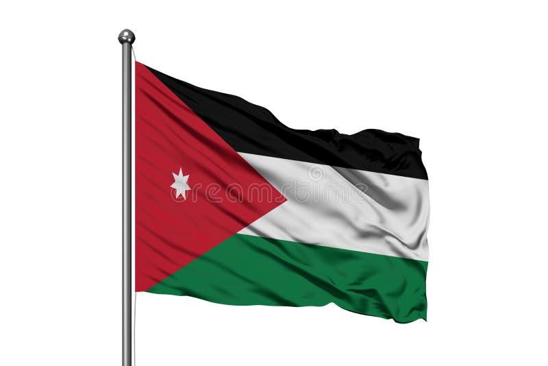 Drapeau de la Jordanie ondulant dans le vent, fond blanc d'isolement Drapeau jordanien photos libres de droits