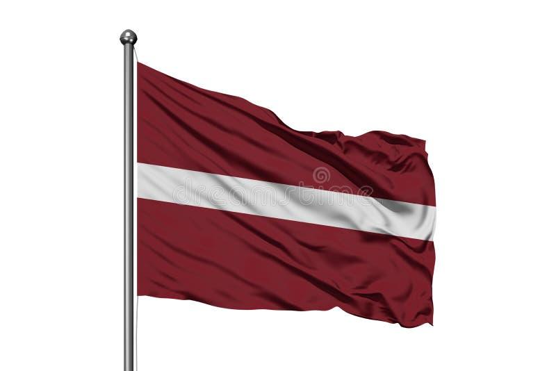 Drapeau de la Lettonie ondulant dans le vent, fond blanc d'isolement Drapeau letton photo stock