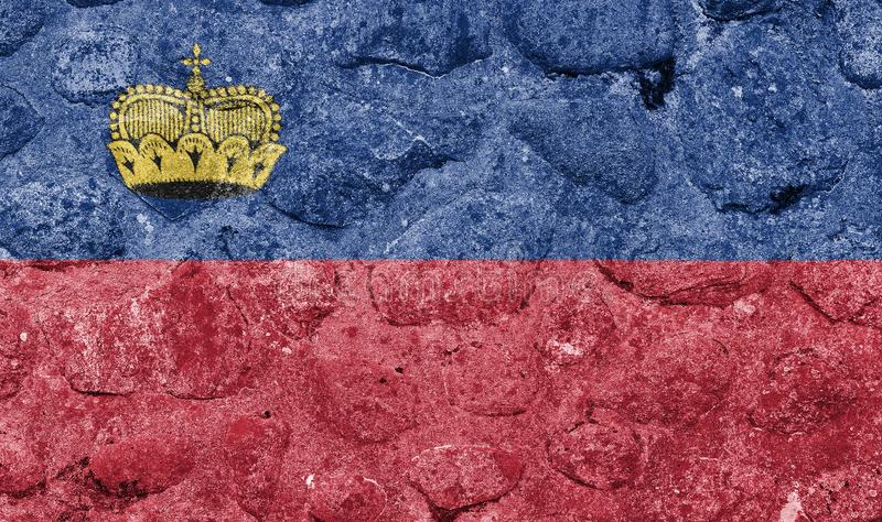 Drapeau de la Liechtenstein sur un mur en pierre illustration stock