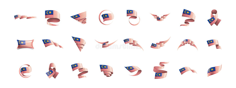 Drapeau de la Malaisie, illustration de vecteur sur un fond blanc illustration stock