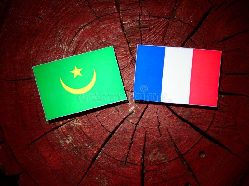Drapeau de la Mauritanie avec le drapeau français sur un tronçon d'arbre d'isolement photo stock