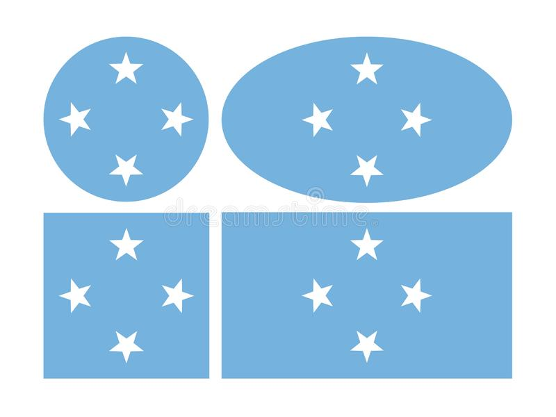 Drapeau de la Micronésie - composé de milliers de petites îles dans l'océan pacifique occidental illustration de vecteur