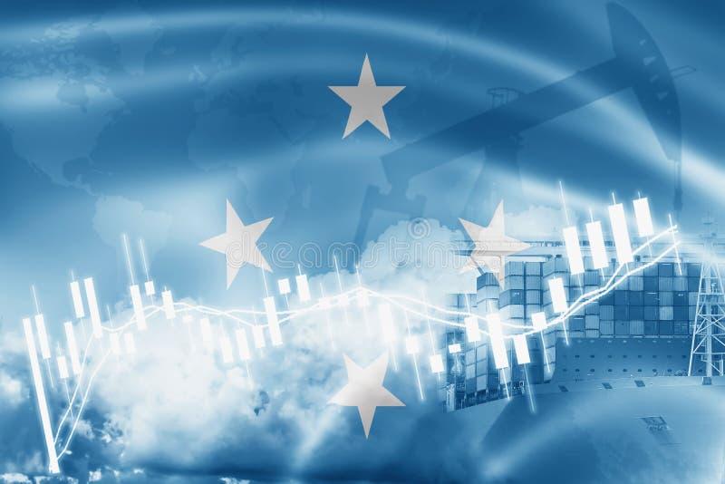 Drapeau de la Micronésie, marché boursier, économie d'échange et commerce, production de pétrole, navire porte-conteneurs dans de illustration de vecteur