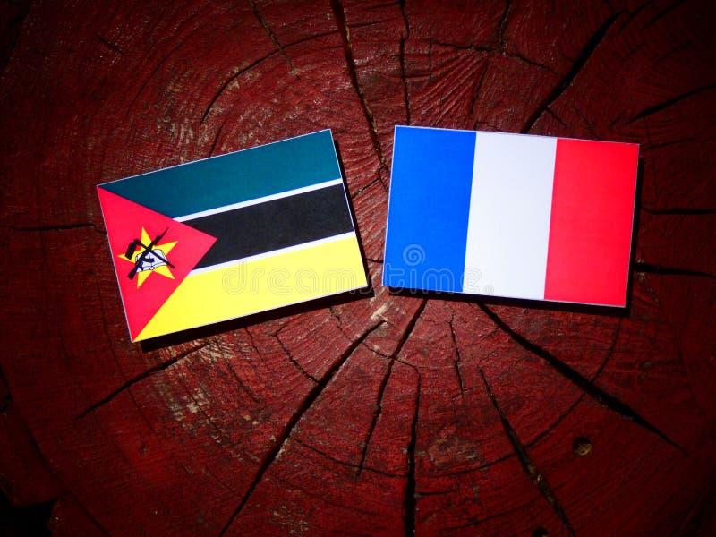 Drapeau de la Mozambique avec le drapeau français sur un tronçon d'arbre d'isolement photographie stock libre de droits