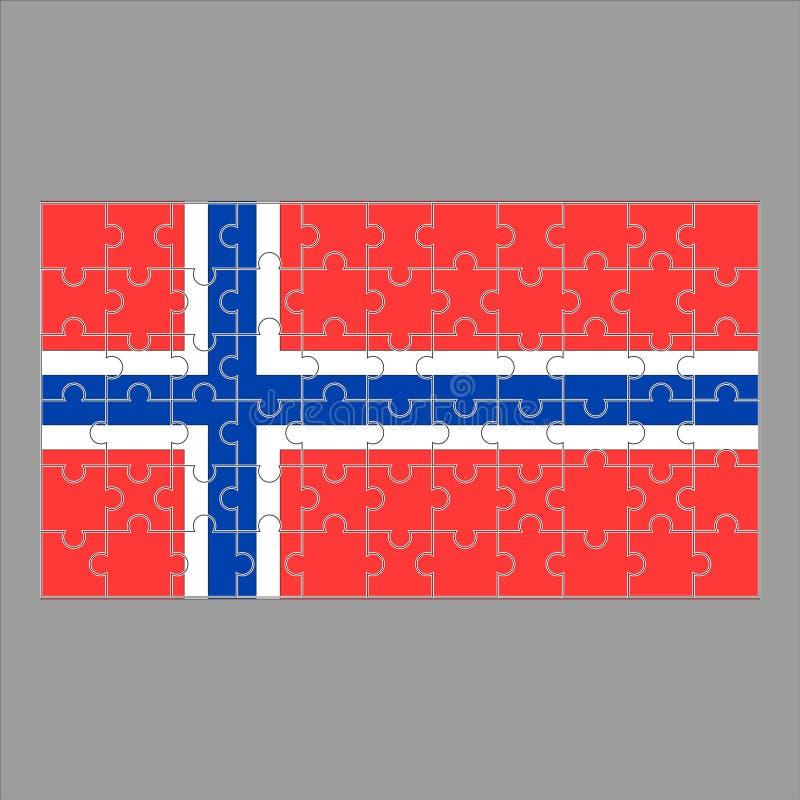 Drapeau de la Norvège du puzzle sur un fond gris illustration libre de droits