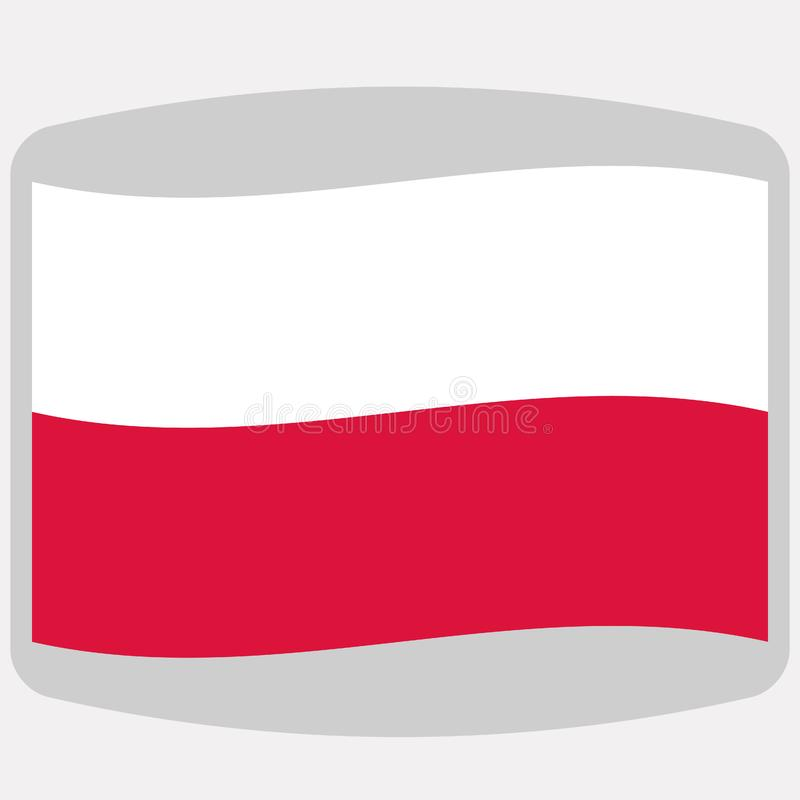 Drapeau de la Pologne, illustration de vecteur, à plat illustration stock