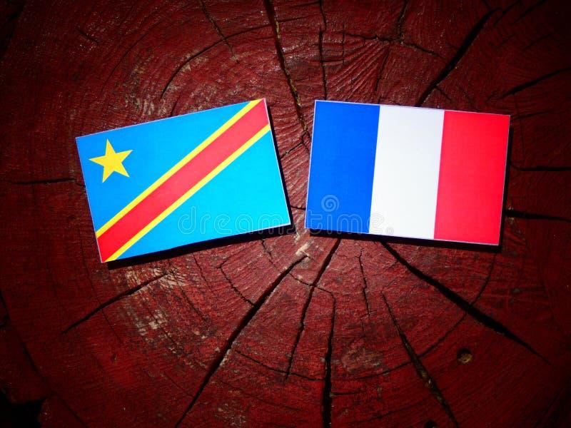Drapeau de la République démocratique du Congo avec le drapeau français sur un arbre photos libres de droits
