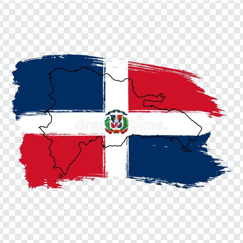 Drapeau de la République Dominicaine de République Dominicaine de courses de brosse et de carte de blanc La République Dominicain illustration libre de droits