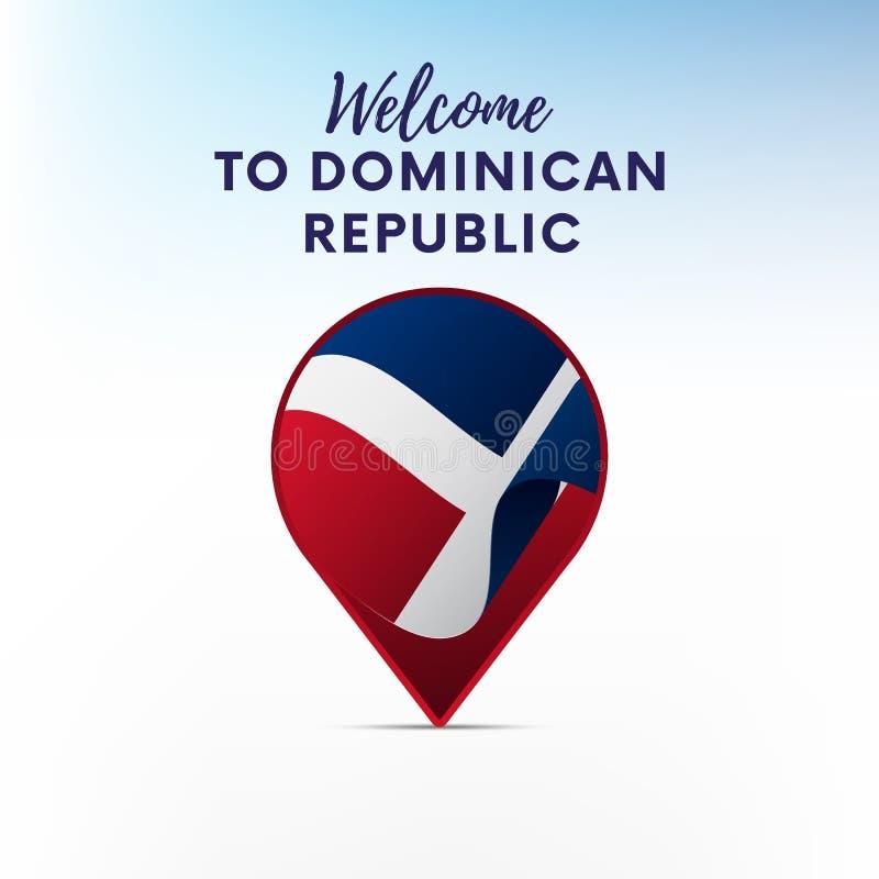 Drapeau de la République Dominicaine dans la forme de l'indicateur ou du marqueur de carte Accueil vers la République Dominicaine illustration stock