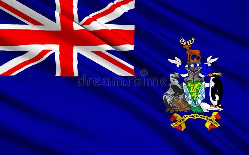 Drapeau de la République de la Géorgie du sud et des îles de sandwich du sud images stock