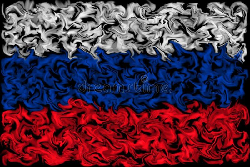 Drapeau de la Russie - conception enduite brûlante de drapeau de couleur illustration de vecteur