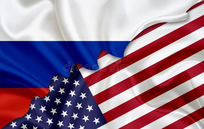 Drapeau de la Russie et drapeau des Etats-Unis illustration libre de droits