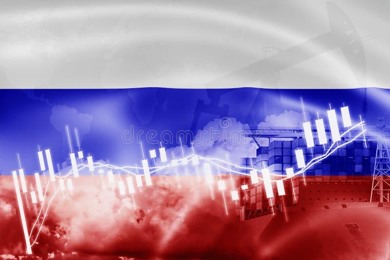 Drapeau de la Russie, marché boursier, économie d'échange et commerce, production de pétrole, navire porte-conteneurs dans l'expo illustration de vecteur