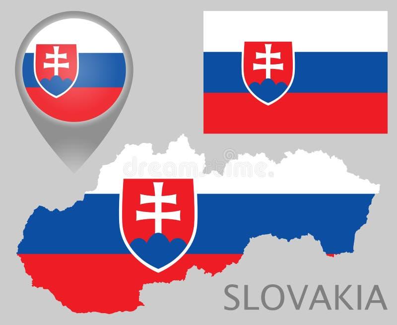 Drapeau de la Slovaquie, carte et indicateur de carte illustration stock