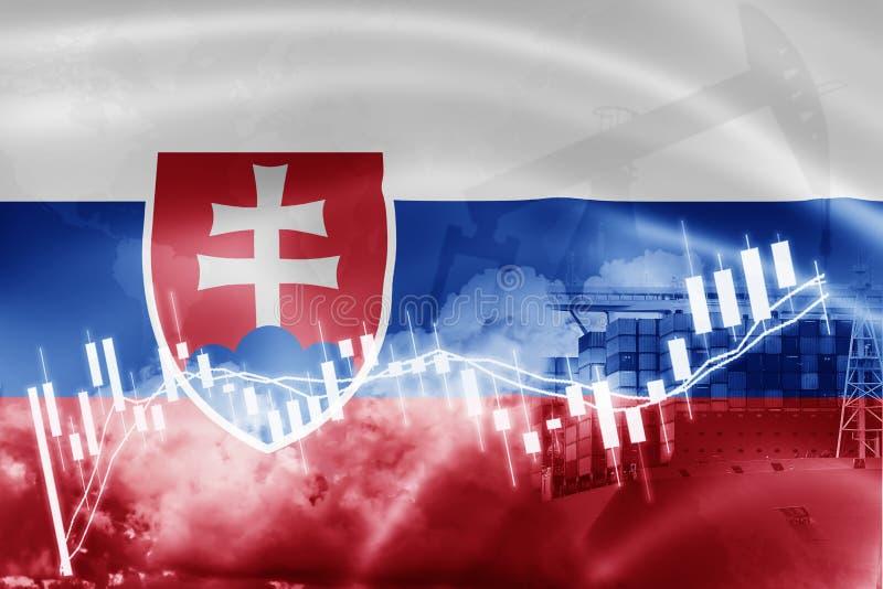 Drapeau de la Slovaquie, marché boursier, économie d'échange et commerce, production de pétrole, navire porte-conteneurs dans des illustration de vecteur