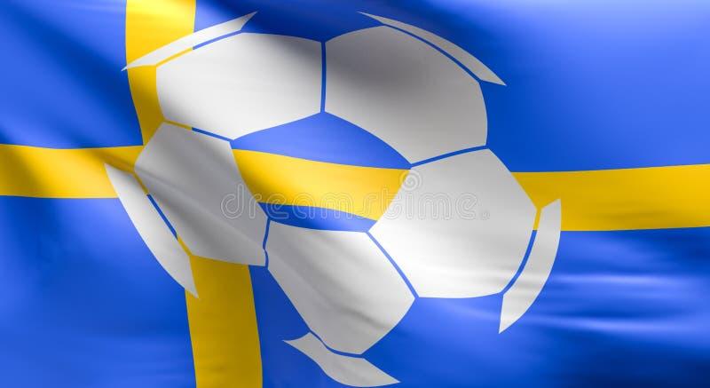 Drapeau de la Suède avec une icône de ballon de football illustration libre de droits