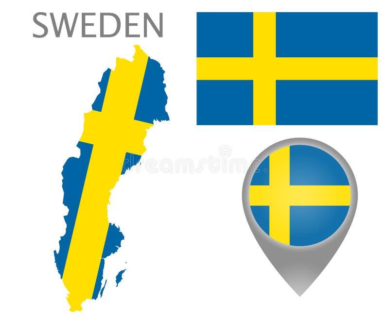 Drapeau de la Suède, carte et indicateur de carte illustration de vecteur