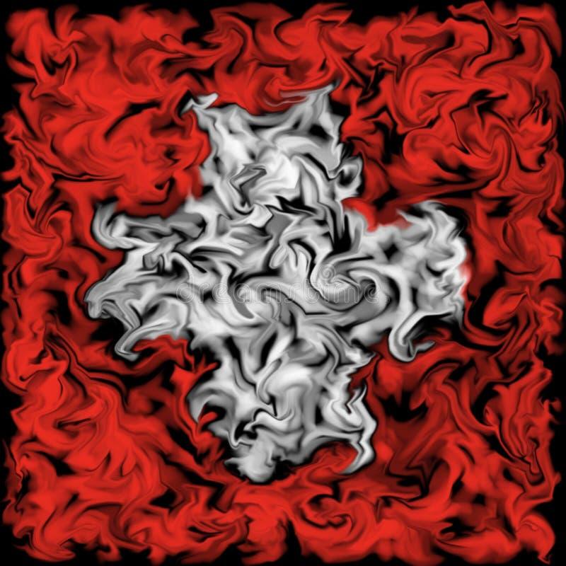 Drapeau de la Suisse - conception enduite brûlante de drapeau de couleur illustration stock