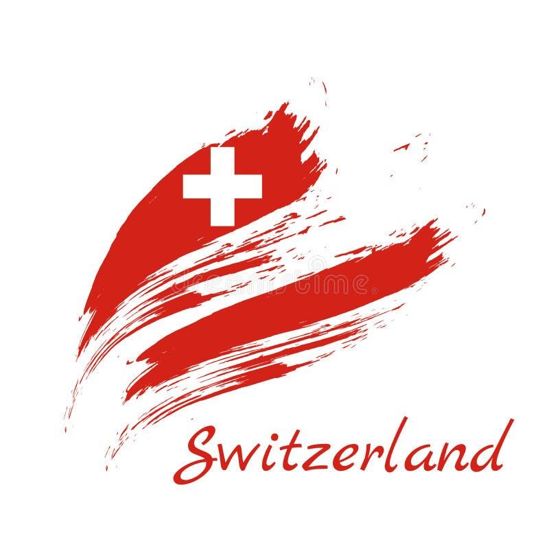 Drapeau de la Suisse, illustration de vecteur de fond de course de brosse illustration stock