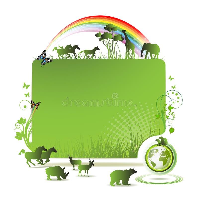 Drapeau de la terre verte illustration de vecteur