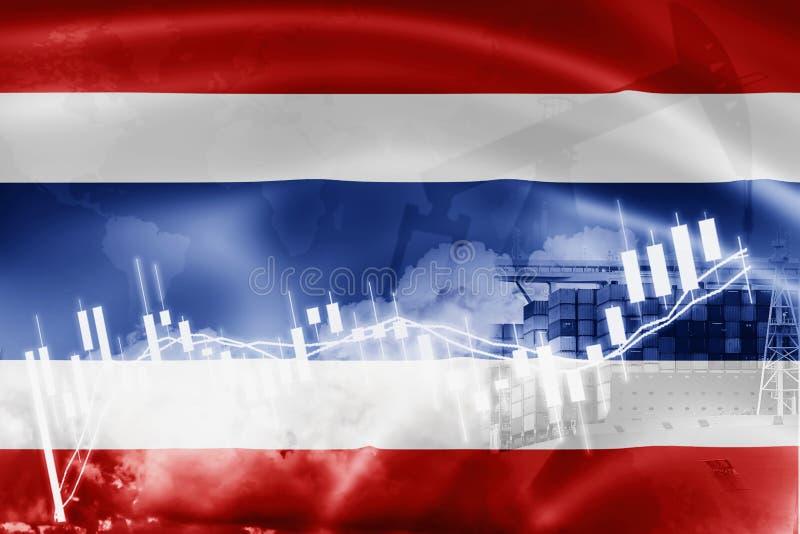 Drapeau de la Thaïlande, marché boursier, économie d'échange et commerce, production de pétrole, navire porte-conteneurs dans des illustration libre de droits