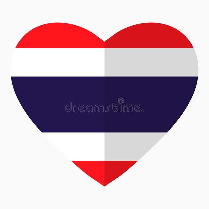 Drapeau de la Thaïlande sous forme de coeur, style plat, symbole illustration libre de droits