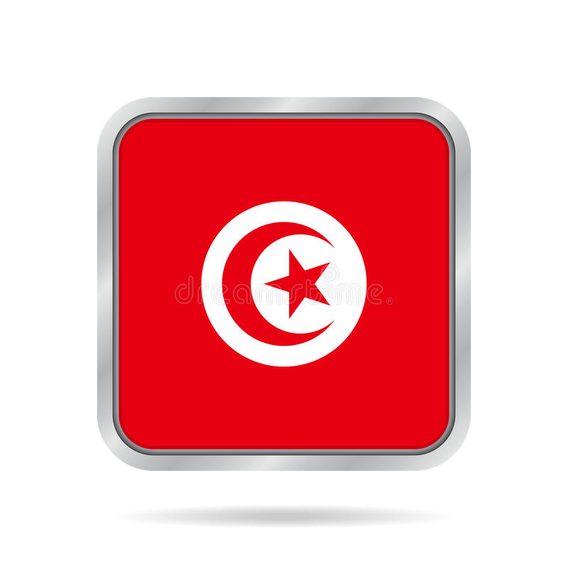 Drapeau de la Tunisie, bouton carré gris métallique brillant illustration stock