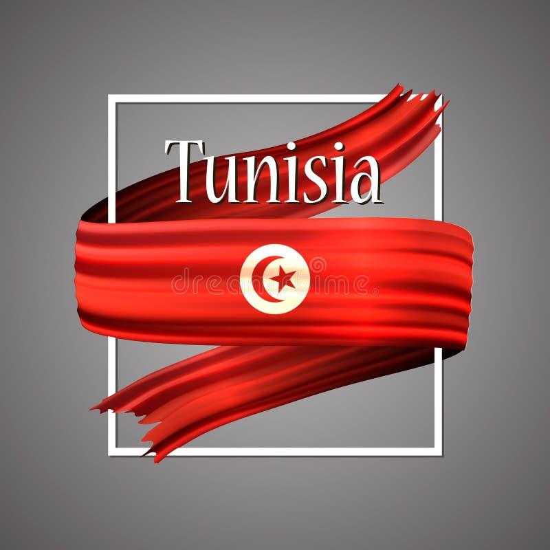 Drapeau de la Tunisie Couleurs nationales officielles Ruban réaliste tunisien de la rayure 3d Fond de signe d'icône de vecteur illustration libre de droits