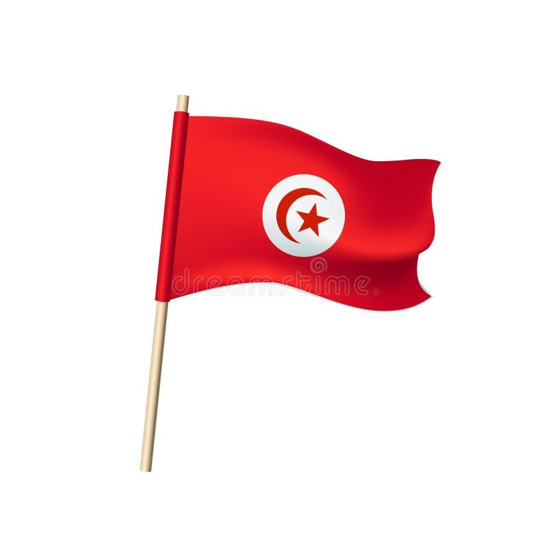 Drapeau de la Tunisie sur le fond blanc illustration libre de droits
