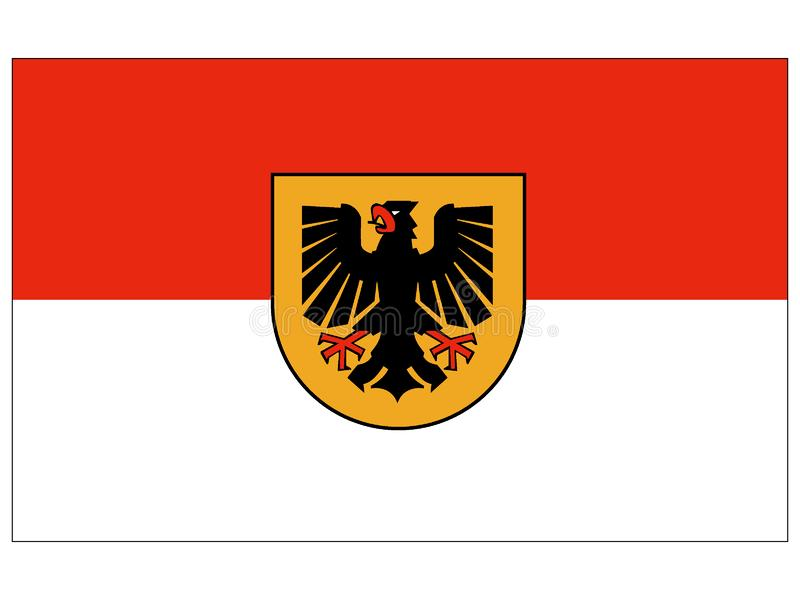 Drapeau de la ville allemande de Dortmund illustration stock