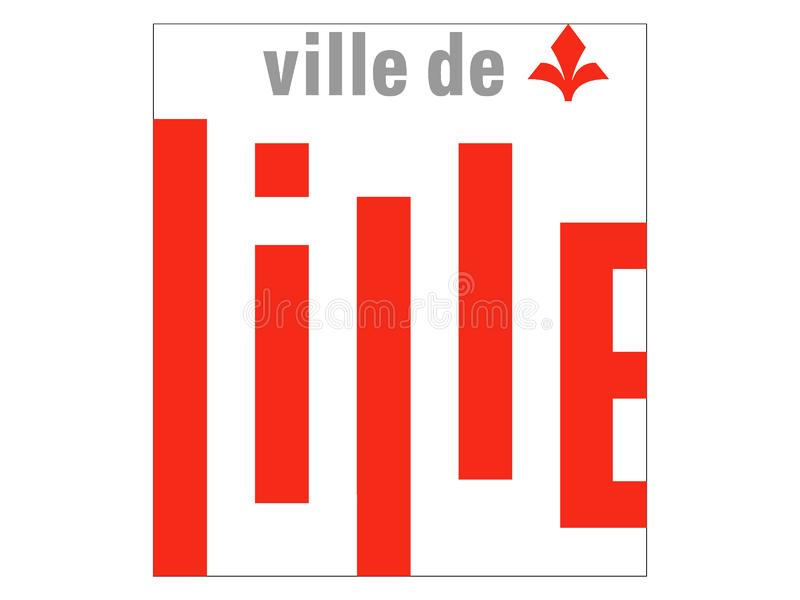Drapeau de la ville française de Lille illustration stock