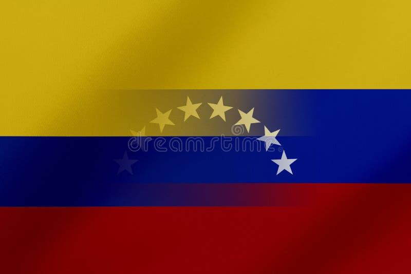 Drapeau de le Venezuela et le Colombie qui viennent ensemble montrant un concept qui signifie le commerce, politique ou d'autres  illustration stock