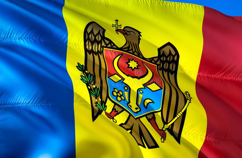 Drapeau de Moldau conception de ondulation du drapeau 3D Le symbole national de Moldau, rendu 3D Le symbole national du fond de M illustration libre de droits