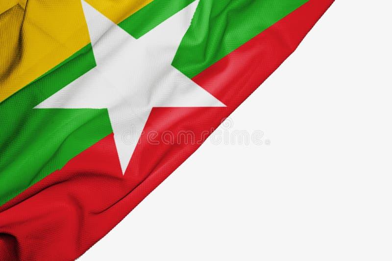 Drapeau de Myanmar ou de la Birmanie de tissu avec le copyspace pour votre texte sur le fond blanc illustration de vecteur