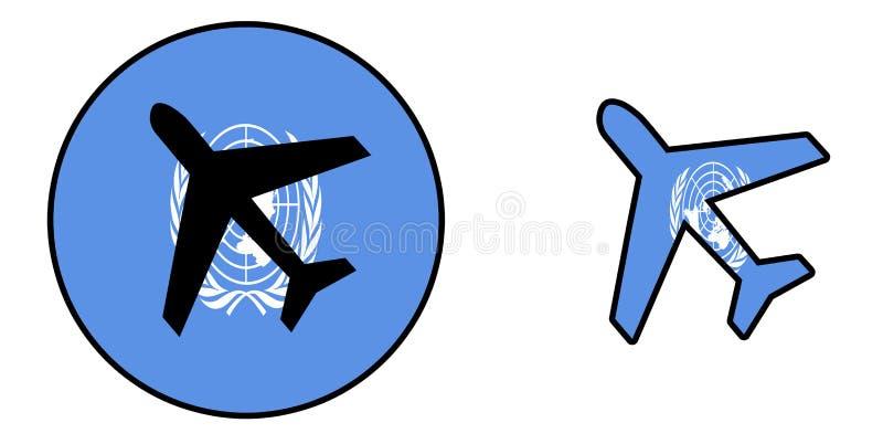 Drapeau de nation - avion d'isolement - les Nations Unies illustration libre de droits