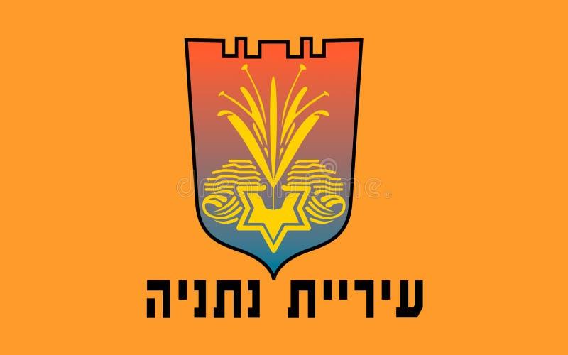 Drapeau de Netanya, Israël illustration de vecteur