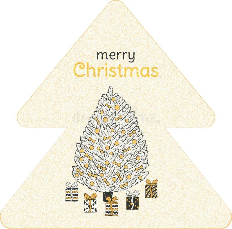 Drapeau de Noël Arbre de Noël avec les cadeaux et l'inscription sous forme de sapin illustration de vecteur