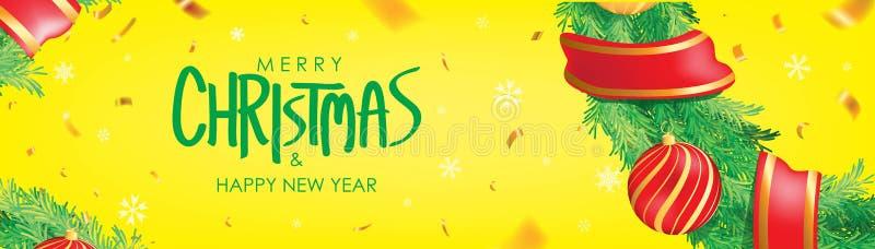 Drapeau de Noël Fond jaune de Noël avec des boules de Noël, des flocons de neige et des confettis d'or Affiche horizontale de Noë illustration de vecteur