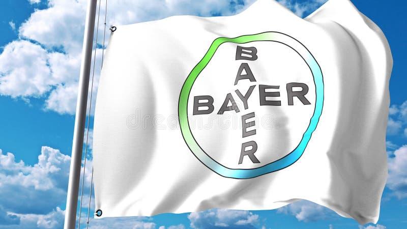 Drapeau de ondulation avec le logo de Bayer AG contre les nuages et le ciel Rendu 3D éditorial illustration stock