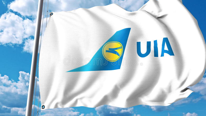 Drapeau de ondulation avec le logo d'Ukraine International Airlines rendu 3d illustration libre de droits