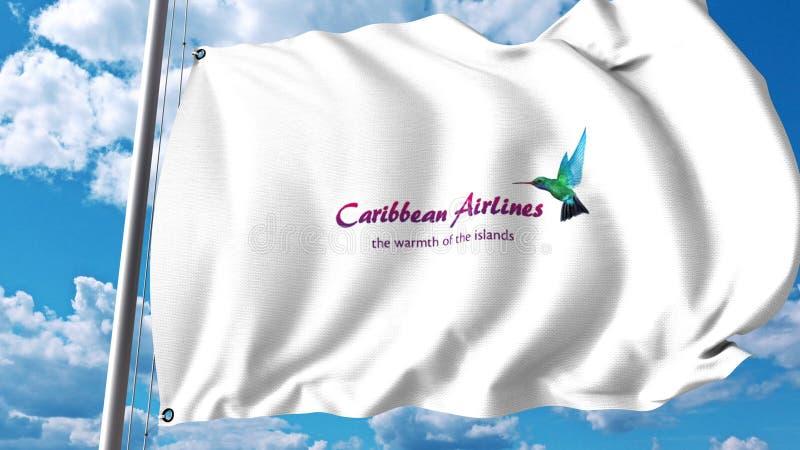 Drapeau de ondulation avec le logo de Caribbean Airlines rendu 3d illustration stock