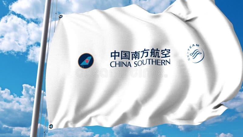 Drapeau de ondulation avec le logo de China Southern Airlines rendu 3d illustration stock