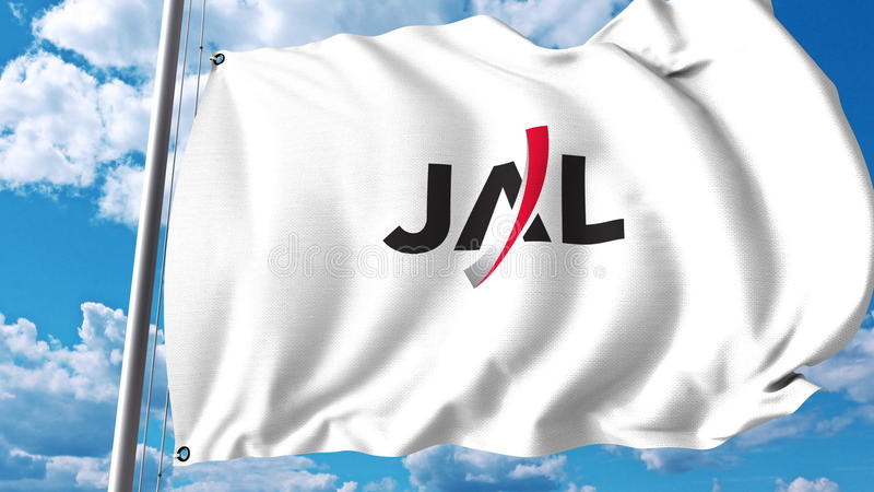 Drapeau de ondulation avec le logo de Japan Airlines rendu 3d illustration stock