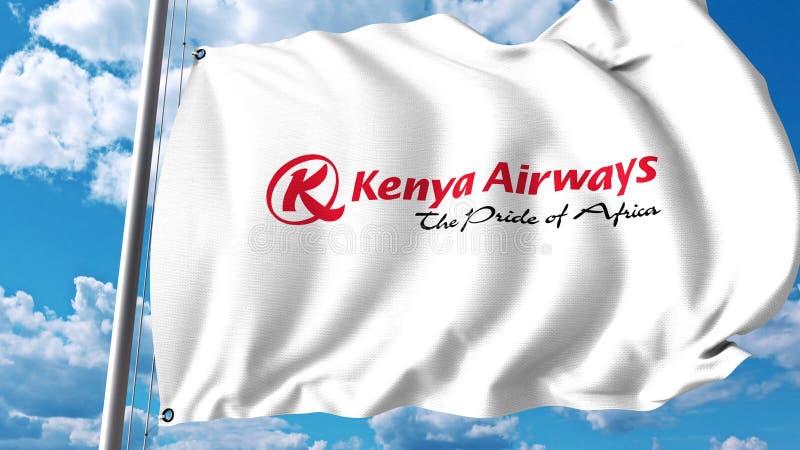 Drapeau de ondulation avec le logo de Kenya Airways rendu 3d illustration libre de droits