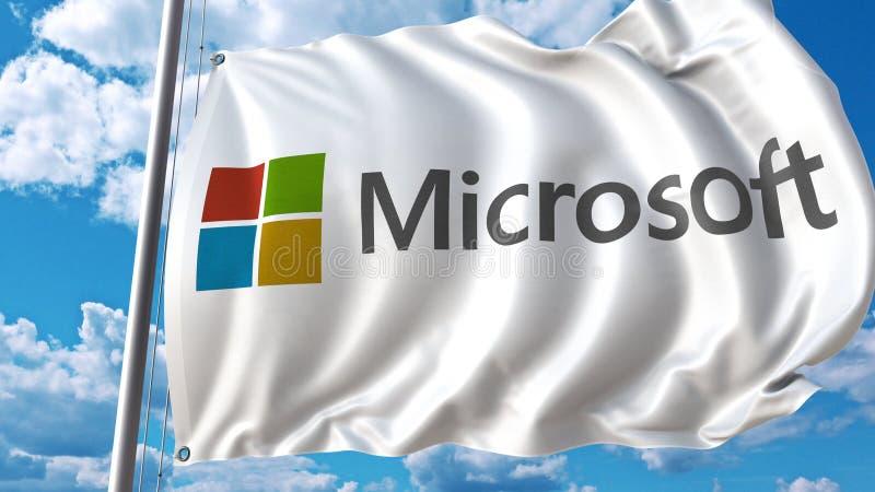 Drapeau de ondulation avec le logo de Microsoft contre le ciel et les nuages Rendu 3D éditorial illustration de vecteur