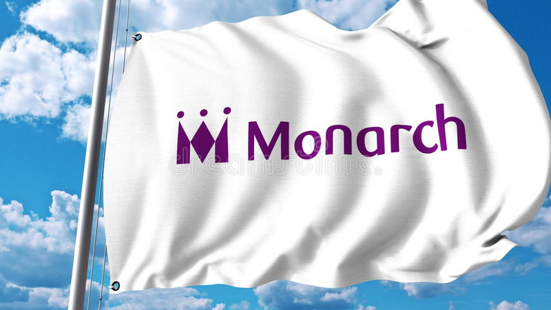 Drapeau de ondulation avec le logo de Monarch Airlines rendu 3d illustration stock